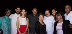 "Djibril Diallo, Mayor of Cartagena, his wife, Rev. Jackson, VP of Colombia Angelino Garzon, Claudia Umana, Dr. Norma Jackson - Group shot during the welcome reception in Cartagena, Colombia. At the ""Castillo de San Felipe"""