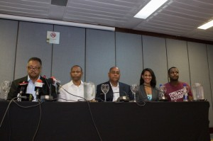 Rev. Jackson, Essaud Urrutia, Senator Ellis, Claudia Umana, Ray Charrupi during media press conference in Cartagena, Colombia