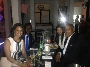 Claudia Umana, James Gomez (Director of International Affairs at RainbowPUSH), Karol Portilla, Senator Rodney Ellis (Houston) at dinner in Cali, Colombia