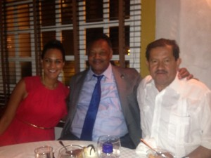 Claudia Umana, Rev. Jackson, VP of Colombia Angelino Garzon at dinner in Cartagena, Colombia