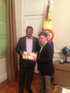 "Rev Jessee Jackson and President Juan Manuel Santos at the Presidents' Residence ""Casa de Narino"""