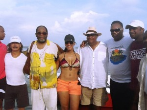 Rev, Bush, Smithsonian Museum Director, Claudia Umana, Senator Rodney Ellis (Houston), Rev. Jackson, Ray Charrupi - in Cartagena Colombia after Rosario Islands day tour - Cartagena, Colombia